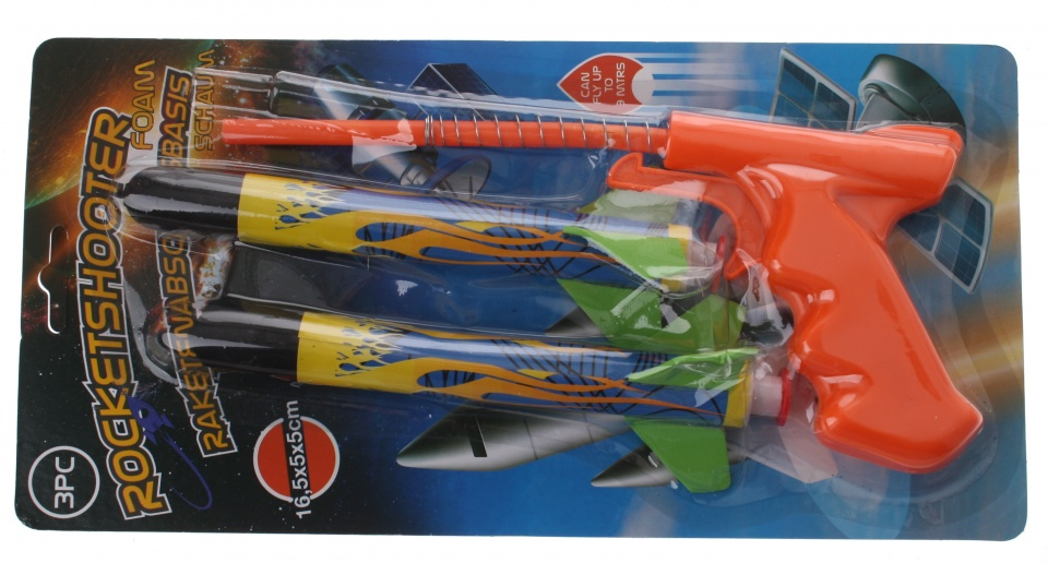 Eddy Toys raketschieter oranje 17 cm 3 delig