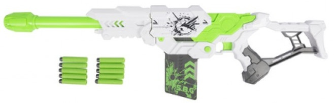 Eddy Toys shooter pistool met foampijlen wit/groen 74 cm