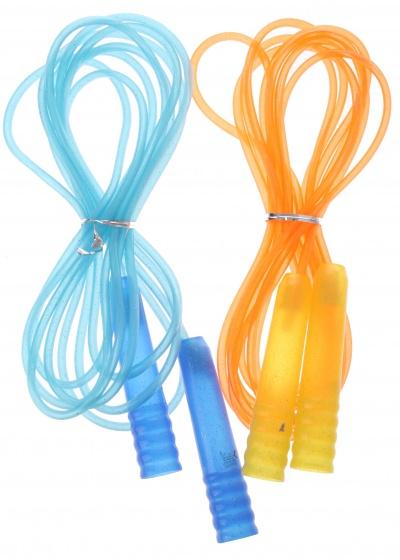 Eddy Toys springtouw blauw/oranje 450 cm 2 stuks