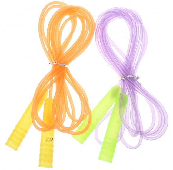 Eddy Toys springtouw oranje/paars 450 cm 2 stuks