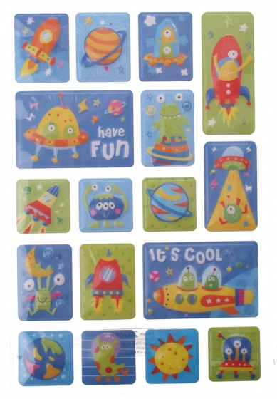 Eddy Toys stickervel ruimte met 17 stickers