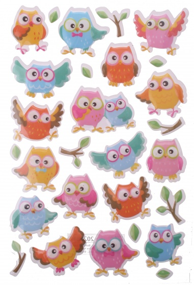 Eddy Toys stickervel uilen met 26 stickers