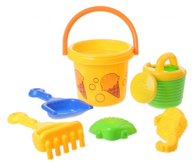 Eddy Toys Strandemmerset 8 delig geel