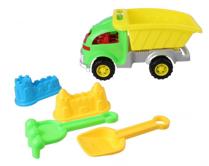 Eddy Toys strandset met kiepwagen 5 delig groen/geel