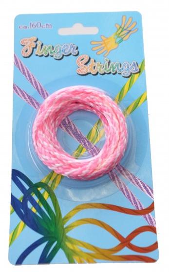 Eddy toys vingertouw 160 cm roze/wit