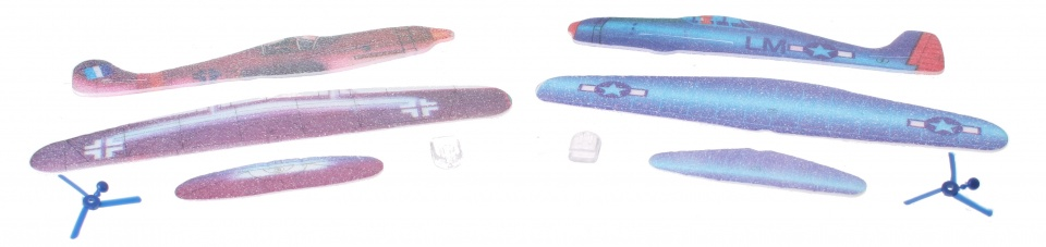 Eddy Toys vliegtuig bouwpakket 24 cm 2 stuks