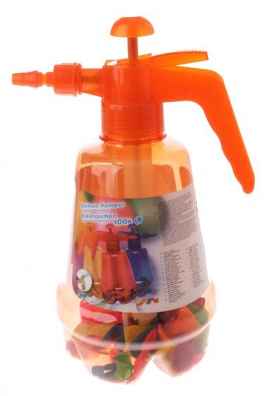 Eddy Toys oranje vulpomp met 100 waterballonnen