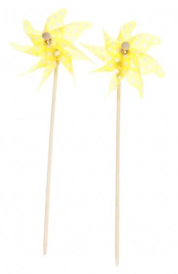 Eddy Toys windmolen 27 cm geel 2 stuks