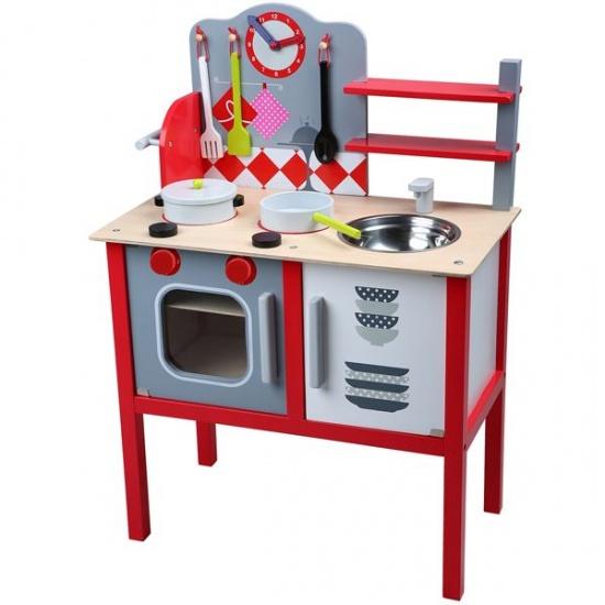Keuken Rood Grijs : Speelgoedkeuken Vrolijke houten keuken in de kleuren rood en grijs