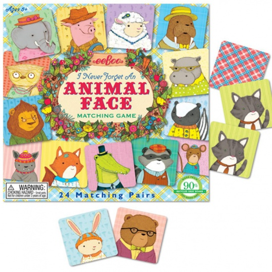 Eeboo Memory Matching Game I Never Forget AN Animal Face