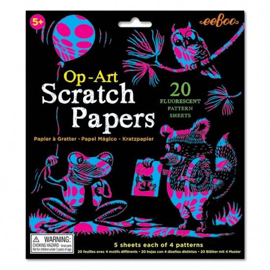 Eeboo Scratch Paper: Op ART fluo
