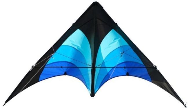 Elliot tweelijnsstuntkite Delta Stunt 130 cm blauw/zwart