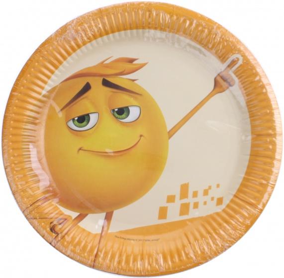 Emoji feestborden 23 cm 10 stuks oranje