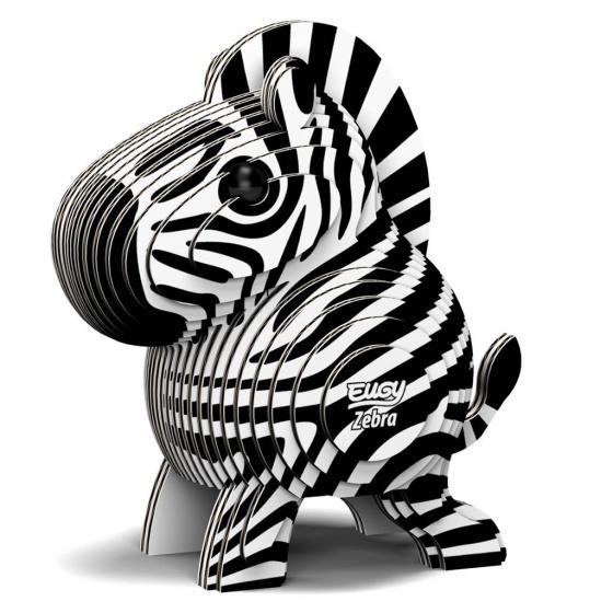 Eugy 3D puzzel Zebra junior 6,2 x 4,4 cm karton zwart/wit