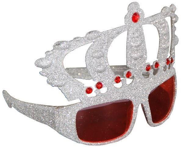 Eurolog Bril kroon 23 x 16 x 6 cm glitter zilver / rood