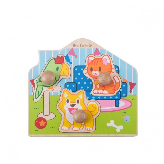 Everearth Vorm puzzel dieren multicolor 3 delig