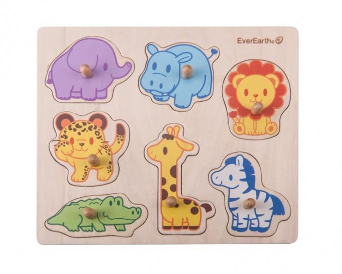 Everearth Vorm puzzel dieren safari multicolor 7 delig