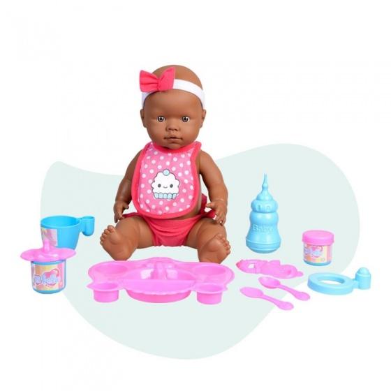 Falca babypop Curiosete met maaltijden 40 cm roze 10 delig