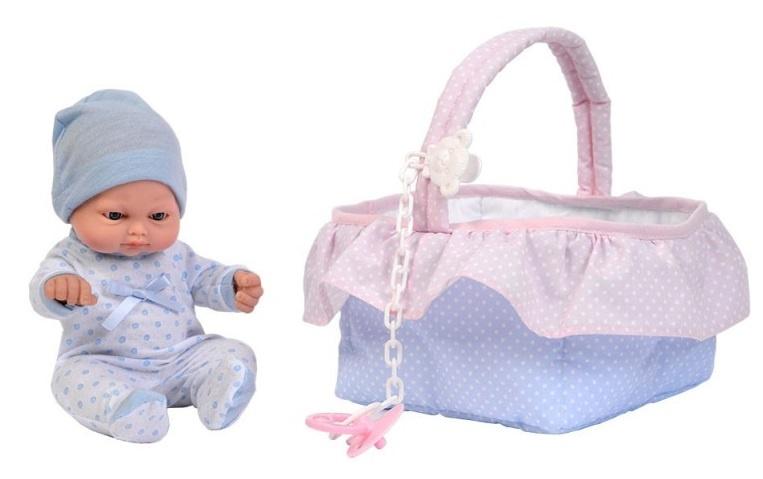 Falca babypop in mand 28 cm roze-blauw