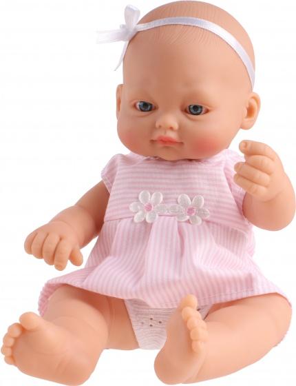Falca babypop New Born strikje strepen 23 cm roze