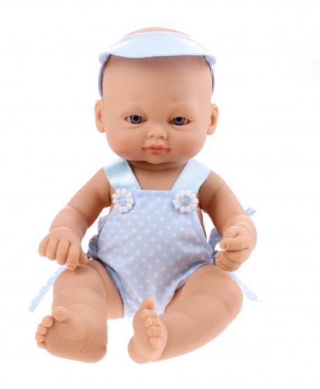 Falca babypop newborn 16 cm meisjes blauw met stippen