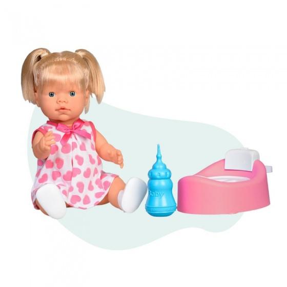 Falca interactieve babypop met flesje en potje 40 cm meisjes roze