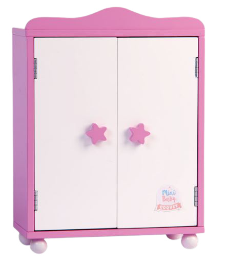 Falca kledingkast voor babypop 32 x 24 cm hout roze