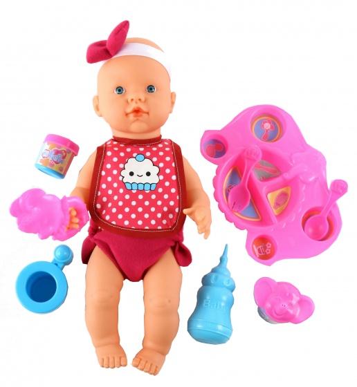 Falca plas en drinkpop met accessoires 40 cm meisjes roze 9 delig