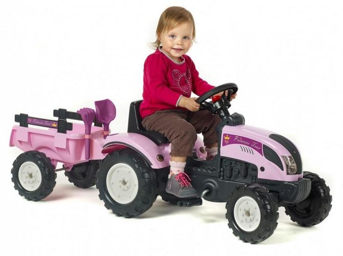 Falk Tractor Met Aanhanger Roze
