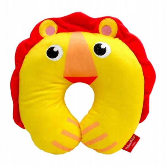 Fisher Price nekkussen 27 x 27 x 6 cm leeuw geel/rood kopen