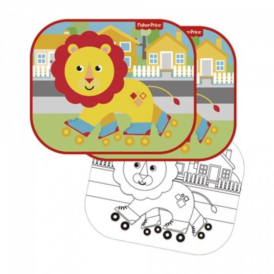 Fisher Price zonnescherm leeuw 44 x 36 cm 2 stuks + kleurplaat kopen
