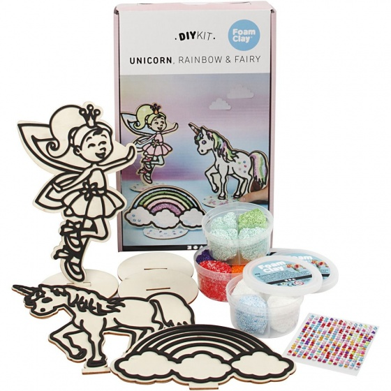 Foam Clay houten themaset Unicorn voor decoratie 10 delig