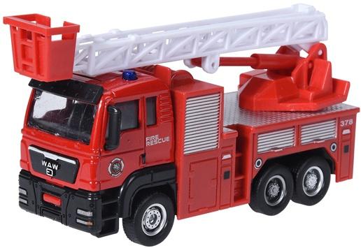 Free and Easy ladderwagen brandweer 16 cm rood