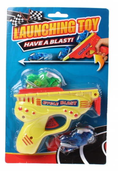 Free and Easy motorpistool launching toy 13 cm geel 3 delig
