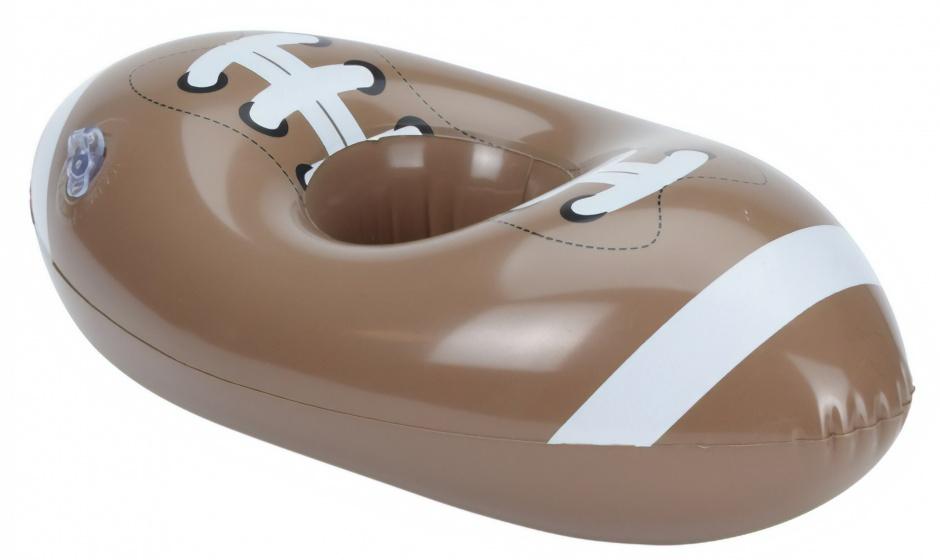 Free and Easy opblaasbare bekerhouder 18 cm rugbybal bruin