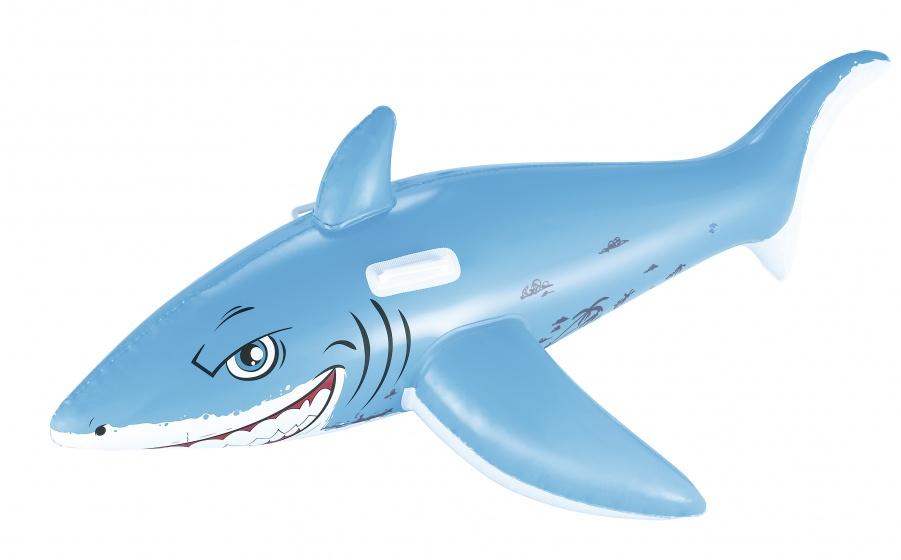 Free and Easy opblaasdier haai 183 cm grijs
