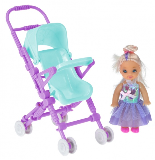 Free and Easy pop met poppenwagen 10 cm lichtblauw/paars