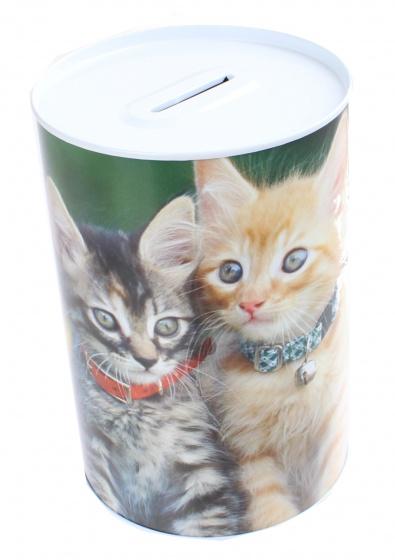 Free and Easy spaarpot 15 cm blik twee kittens grijs/rood