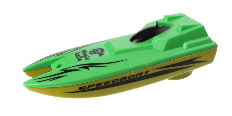 Free and Easy speedboot met trekkoord 13 cm groen/geel