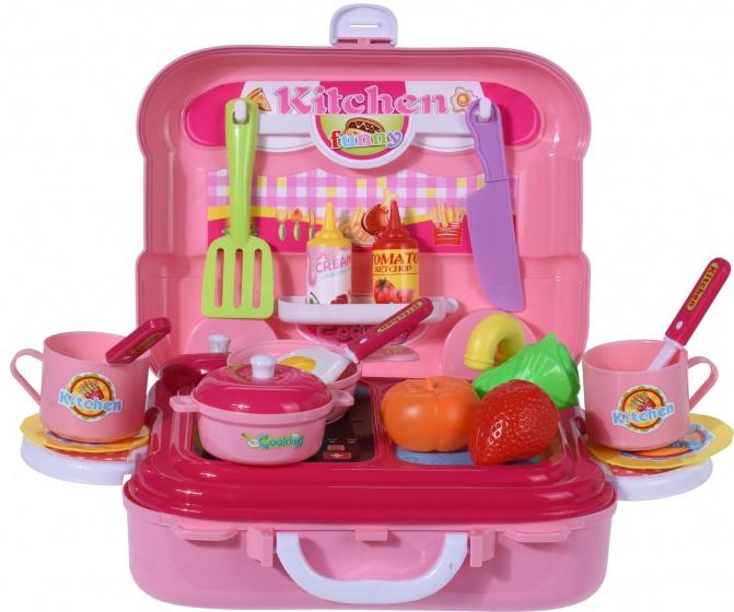 Free and Easy speelkoffer keukenset roze 20 delig