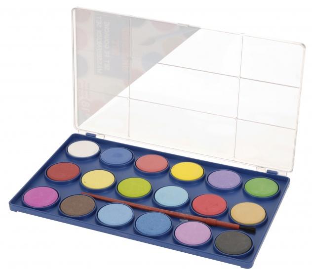 Free and Easy waterverf met kwast 18 kleuren 15 cm
