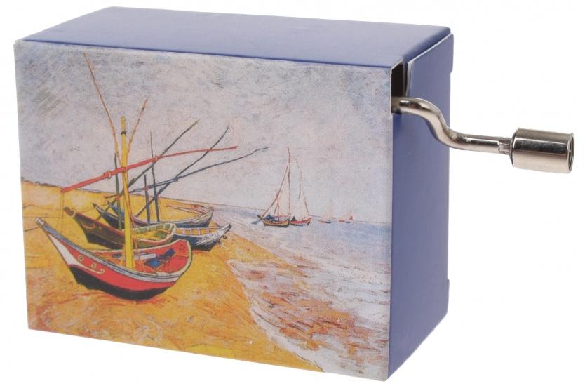 Fridolin muziekdoos Van Gogh Vissersboten 4,5 x 6 x 3 cm