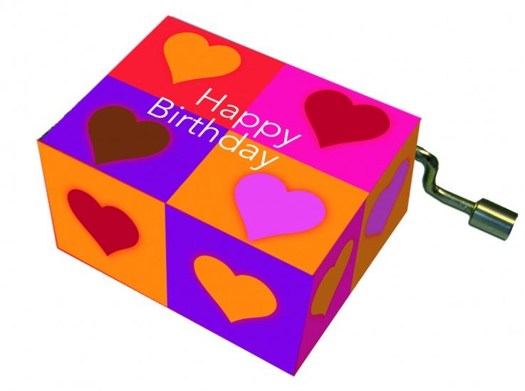 Fridolin Muziekdoosje: '' Happy Birthday'' Hartjes