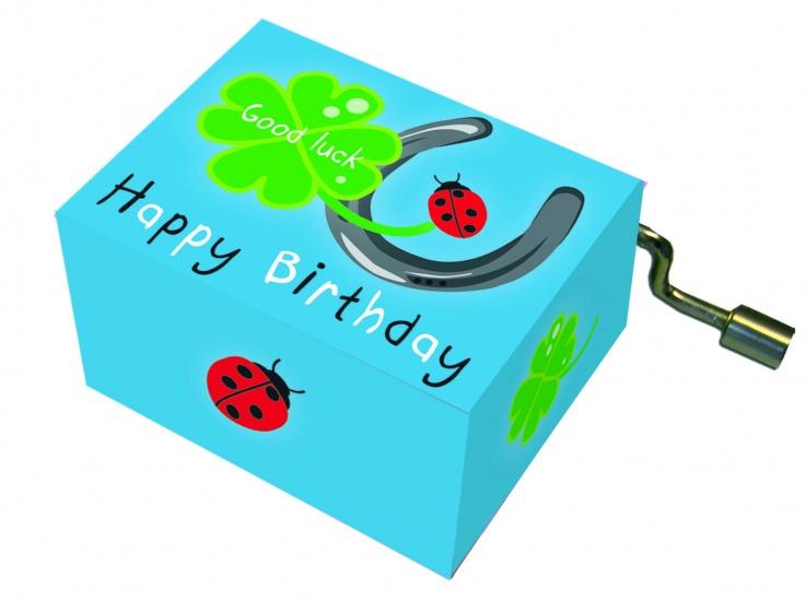 Fridolin Muziekdoosje: '' Happy Birthday'' Groen
