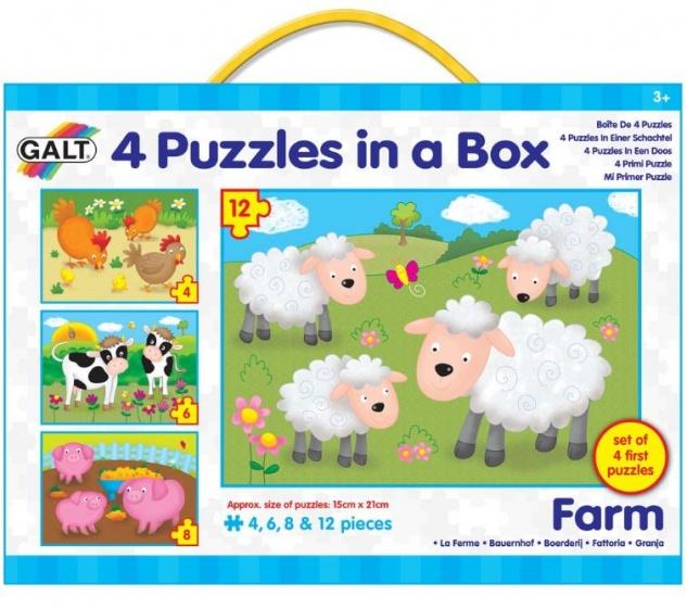 Galt legpuzzel 4 in 1 boerderij 4 6 8 12 stukjes