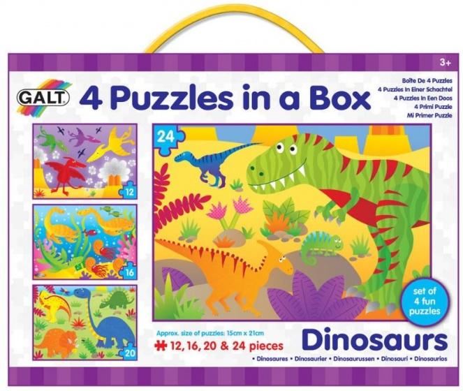 Galt legpuzzel 4 in 1 Dinosaurussen 12 16 20 24 stukjes