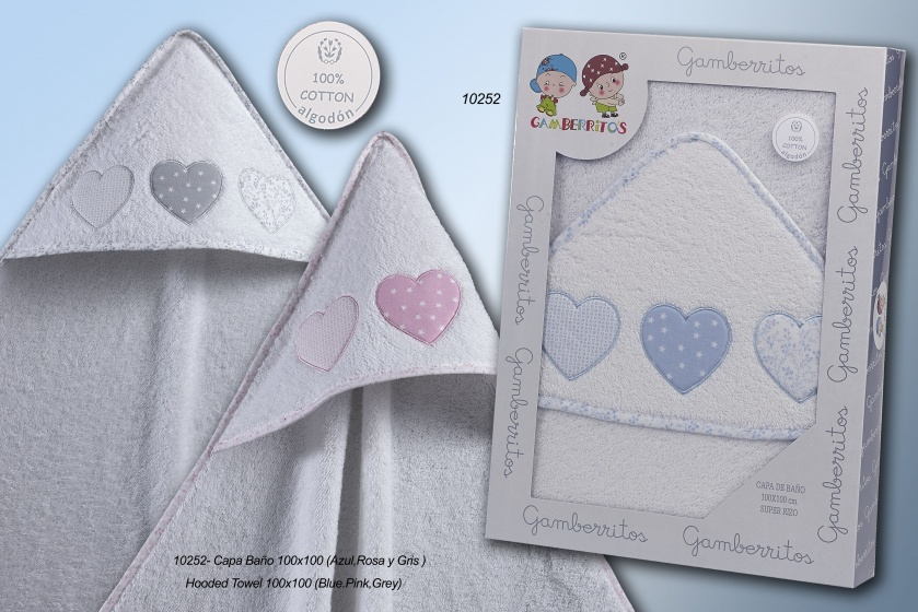 bath cape hearts 100 x 100 cm cotton white/pink