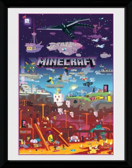 GB Eye poster in lijst Minecraft World Beyond 30 x 40 cm