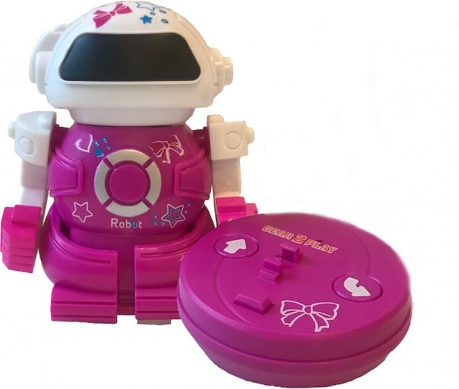 Gear2play RC robot Mini Bot speelfiguur 10 cm roze in blik