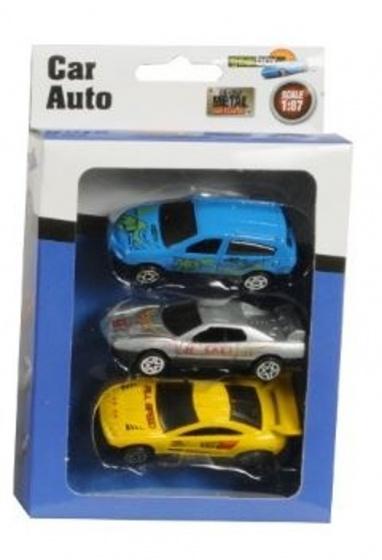 Gearbox Auto set Diecast 1:87 7 cm blauw/zilver/geel 3 stuks